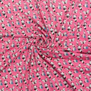 Viskosejersey, Tiermotive, Pink, Schwarz/Weiß