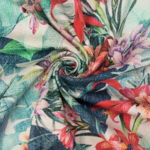 Baumwollstretch, Blüten und Pflanzen, Grüntöne, Offwhite, Rottöne