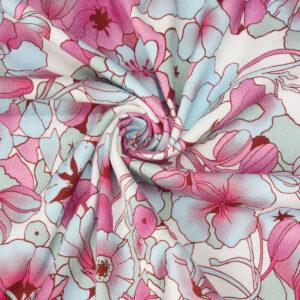 Baumwollstretch, Blüten, Hellblau, Rosa, Offwhite