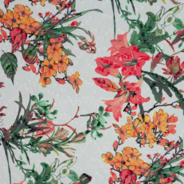 leichter Jacquard, Blumen und Blüten, Weiß, Grün, Rot