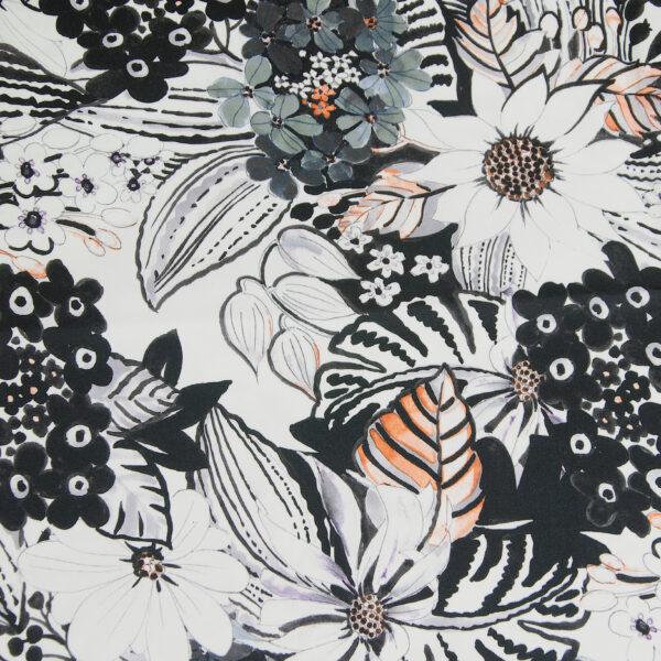 Baumwollsatin, Blumen, Offwhite, Anthrazit, Orange, Flieder