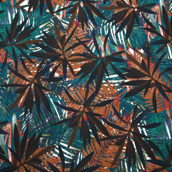 Baumwollstretch, Palmblätter, Petrol, Lila, Rot, Braun