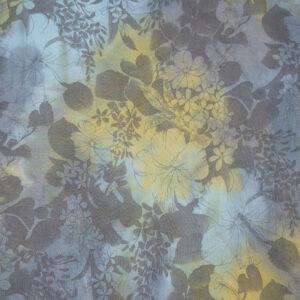Leinen, Blumen, Grau, Hellblau, Gelb