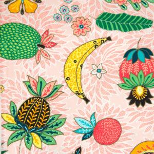 Baumwolljersey, Früchte, Rosa, Grün, Gelb