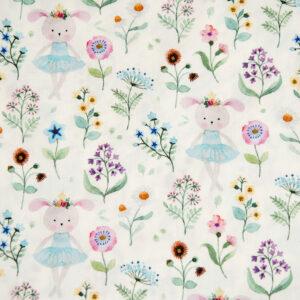 Popeline, Hasen, Blumen, Offwhite, Hellblau, Pastellgrün, Flieder