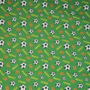 Popeline, Fußball, Grasgrün, Schwarz/Weiß