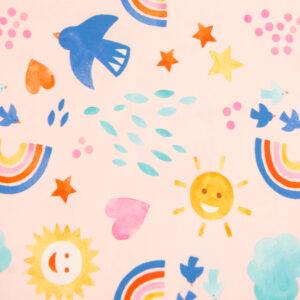Baumwolljersey, Kindermotive, Rosé, Blautöne, Sonnengelb