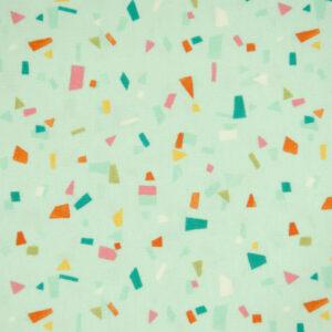 Baumwolljersey, grafisch gemustert, Türkis, Pink, Orange
