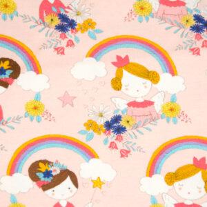 Baumwolljersey, Prinzessinnen, Regenbögen, Rosé, Sonnengelb, Weiß