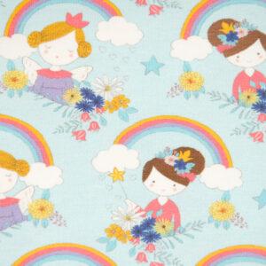Baumwolljersey, Prinzessinnen, Regenbögen, Hellblau, Weiß, Pink