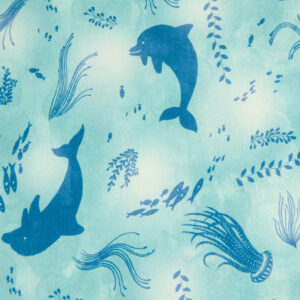Baumwolljersey, Meeresmotive, Blautöne