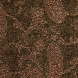 Chenillejacquard, Paisley-Muster, Brauntöne, Kupfer