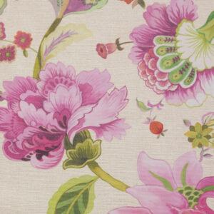 Ottoman, Blütenzweige, bedruckt, Pink, Lilatöne, Grüntöne