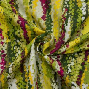2,80m breiter Panama, abstrakt gemustert, Grüntöne, Gelb, Beere