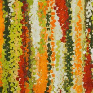 2,80m breiter Panama, abstrakt gemustert, Grüntöne, Orangetöne, Beige