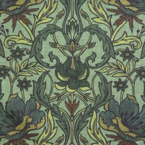 Ottoman, ornamental gemustert, Grüntöne, Brauntöne