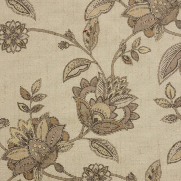 Velour, Blütenzweige, Creme, Brauntöne