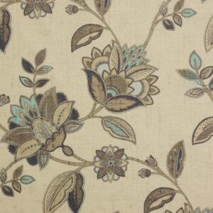 Velour, Blütenzweige, Creme, Brauntöne, Hellblau