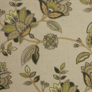 Velour, Blütenzweige, Creme, Grüntöne, Brauntöne