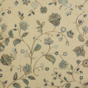 Velour, Blütenzweige, Creme, Blautöne