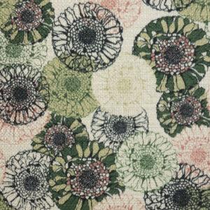 Polsterstoff, Blumen, Webstruktur, Grün, Rosa, Schwarz