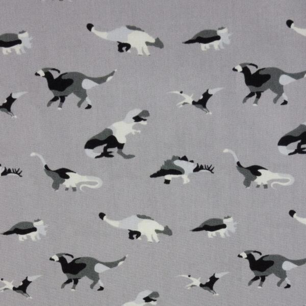 Popeline, Dinosaurier, Grautöne, Schwarz, Weiß