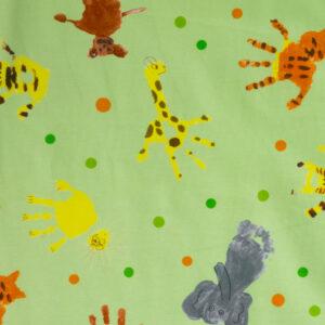 Baumwolljersey, Kindermotive, Hellgrün, Orange, Gelb