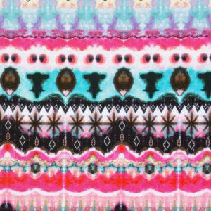 Leinen, Batik-Optik, Pink, Türkis, Schwarz/Weiß
