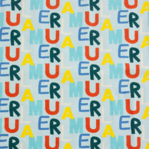 Baumwolljersey, Typographie, Blautöne, Gelb, Rot
