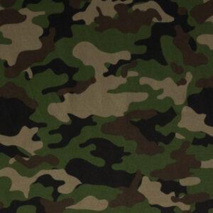 Baumwolljersey, Camouflage, Tannengrün, Brauntöne, Schwarz