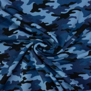 French Terry, Camouflage, Blautöne, Schwarz