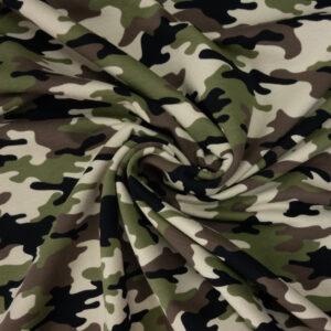French Terry, Camouflage, Grüntöne, Brauntöne, Creme
