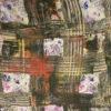 Seidensatin, abstrakt gemustert, Ziegelrot, Beige, Schwarz, Flieder