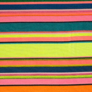 Jacquard, Streifen, Neongelb, Neonorange, Blautöne, Pink