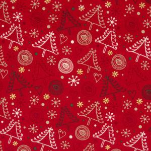 Popeline, Weihnachtsmotive, Rot, Weiß, Grün, Gold