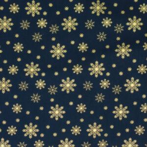 Popeline, Weihnachtsmotive, Dunkelblau, Gold
