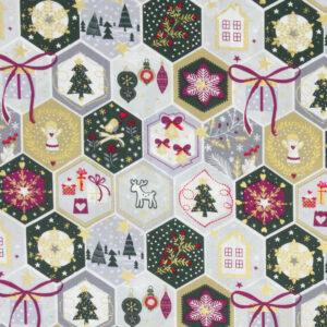 Popeline, Weihnachtsmotive, Tannengrün, Weiß, Grau, Beere