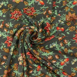 weicher Viskosetwill, Schmetterlinge, Blumen, Grüntöne, Orangetöne