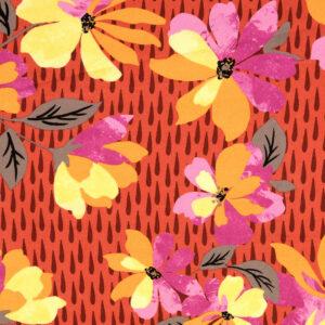 Viskosetwill, Blumenmuster, Rottöne, Rosatöne, Gelbtöne