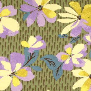 Viskosetwill, Blumenmuster, Schilfgrün, Gelbtöne, Flieder