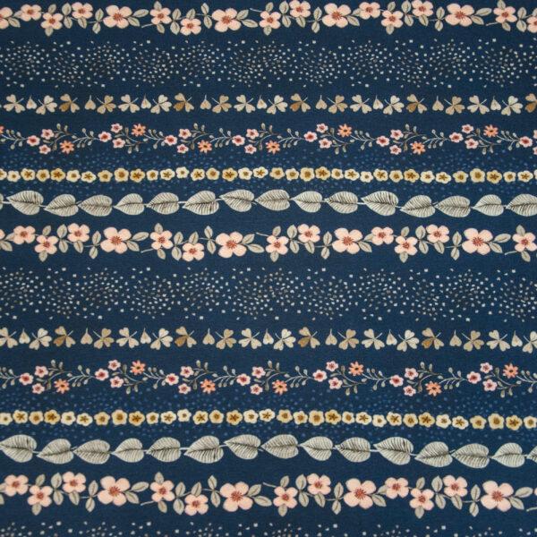 Baumwolljersey, Blumenranken, Dunkelblau, Rosa, Graugrün