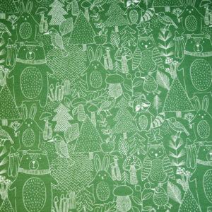 Baumwolljersey, Tiermotive, Grün, Weiß