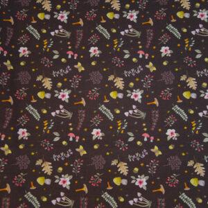 Baumwolljersey, Pilze, Blätter, Schokobraun, Herbsttöne
