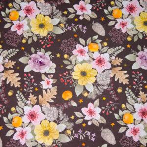 Sommersweat, floral gemustert, Brauntöne, Gelb, Rosatöne, Orange
