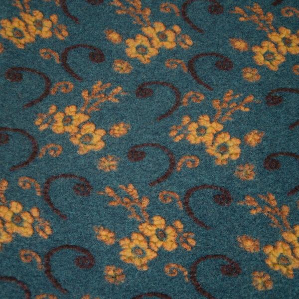 Walkstrick, Blütenmuster, Ockertöne, Blau