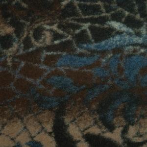 Walkstrick, abstrakt gemustert, Brauntöne, Blautöne