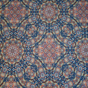 Stretch, ornamental gemustert, Blautöne, Rottöne, Cremetöne