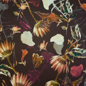 Viskosejersey, floral gemustert, Brauntöne, Lilatöne, Grüntöne, Cremetöne