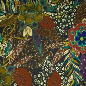 Viskosejersey, floral gemustert, Blautöne, Cremetöne, Grüntöne, Brauntöne