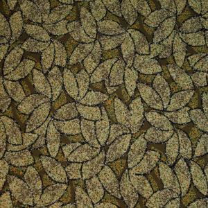 Viskosejersey, Blätter, Grüntöne, Orange, Beige, Schwarz